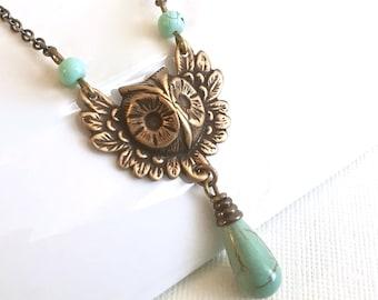 Brass Owl Necklace - Owl Jewelry, Bird Necklace, Bird Jewelry, Nature Jewelry