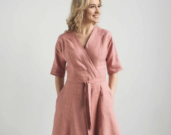 Linen wrap dress, wrap around dress, linen beach dress, light peach dress, belted summer dress, beach cover ups, breastfeeding dress