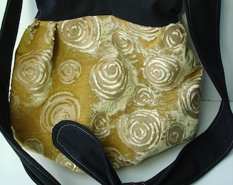 Yellow and Black Ornamental Velours Hobo Bag -Pouch- Ready to ship