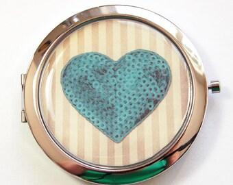 Heart compact mirror, Pocket mirror, compact mirror, mirror, Heart pocket mirror, heart, love, gift for bride, bridal shower, Teal (3146)