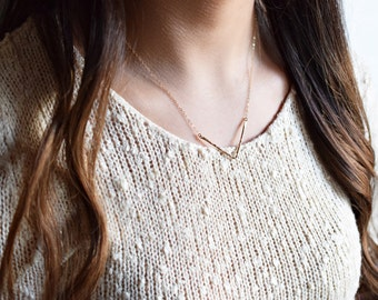 Geometric Necklace, Hammered Chevron Necklace, Gold or Silver, Triangle Necklace, Hammered Triangle, Geometric Jewelry, Floating Triangle