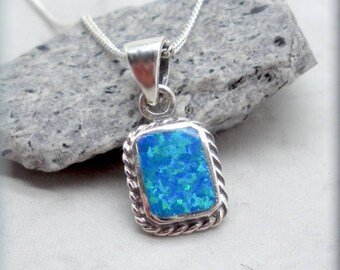 Rectangle Blue Opal Necklace Sterling Silver 925 October Birthstone Necklace Birthday Gift for Her Opal Pendant Everyday Jewelry