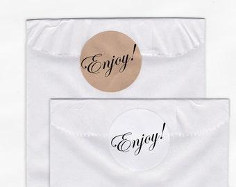 Enjoy Wedding Favor Stickers - Custom Candy Buffet White Or Kraft Round Labels for Bag Seals, Envelopes, Mason Jars (2008)