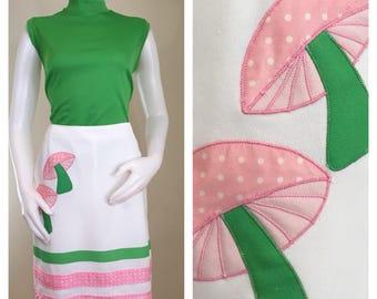 70s Hadley Mushroom Pink Green White A-line Skirt Skort, Size Medium