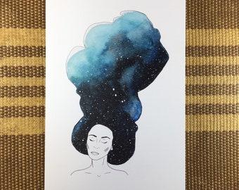 Galaxy Girl Gia - Watercolor Art Note Card