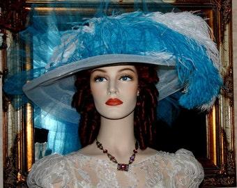 Victorian Hat, Kentucky Derby Hat, Ascot Hat, Tea Party Hat, Fantasy Hat, Wide Brim Hat, Alice Wonderland Hat - Turquoise Crystal Fairy