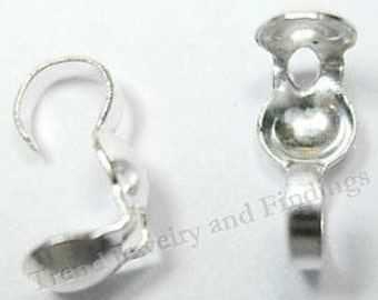 Wholesale - 300 Silver Plate Clamshell Crimp Bead Tips Knots Covers - Jewelry Making Findings -TR008