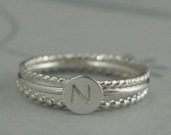 Little Initial Stacking Set--Monogram Band--Custom Hand Stamped Sterling Silver Stacking Ring Set--Personalized Monogram Ring