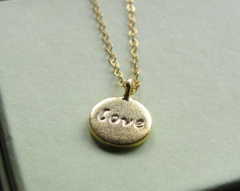 24K  Love disc necklace hand stamped