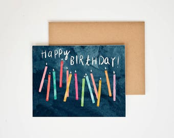 Birthday Candles, Happy Birthday Greeting Card, Watercolor Painting, Gift for Her, Art Print, Birthday Card for Girlfriend, Meera Lee Patel