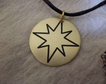 Captain Marvel Etched Brass Pendant
