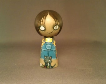 Zombie Girl with cat Wooden Handpainted Kokeshi Doll