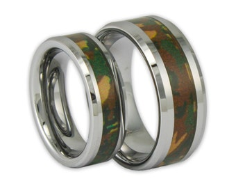 Couples Woodland Camo Tungsten Ring Set His and Hers Promise Bands with Engraving