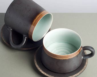 Handmade  oval coffee mugs ,tea cups,Metal color mugs,with saucer,celodon glazed ,lake color,craft works,pottery mugs, coffee lover's gift.