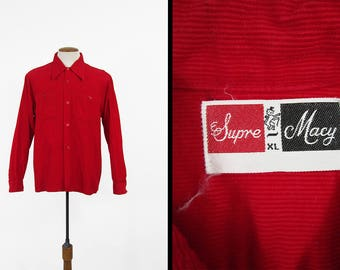 Vintage 60s Red Corduroy Shirt Supre Macy Casual Button Up Square Hem - Men's Large