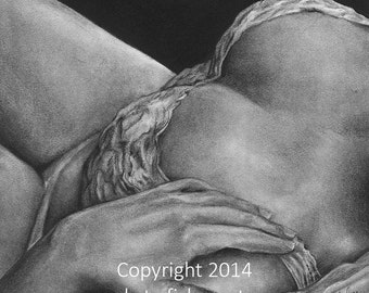 """Limited Edition Fine Art Charcoal Drawing Prints - """"Boudoir 10"""""""
