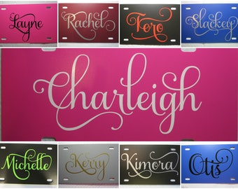 Personalized License Plate ~Choose your Plate & Lettering Color~ ONE NAME | fancy | curly | vine | custom license plate | solid | vanity |