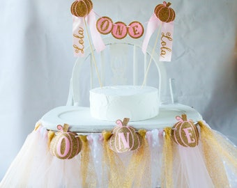 Pumpkin Princess First Birthday Party Photo Decor Set including Banner Cake Topper or Centerpiece in Gold Glitter and Pink