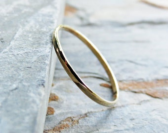 1.2mm Thin Half Round Wedding Band or Promise Ring - Solid 14k Yellow Gold in High Polish or Matte Finish - Thin Gold Ring