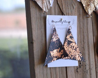 Rose Gold Flake Leather Triangle Dangle Earrings || Hypoallergenic || Handcut
