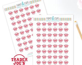 48 Trader Joe's Shopping reminder stickers, Grocery Planner Stickers, Reminder, Happy Planner, Calendar Stickers, Erin Condren Stickers