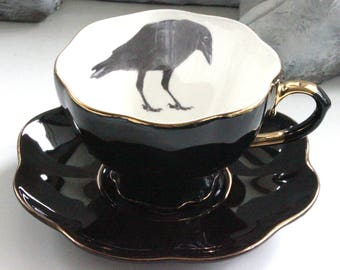 SELECTED SECONDS Black & Gold Raven / Crow or Custom Personalized Teacup,Raven Tea, Crow Teacup, Crow Halloween China, Raven Cup, Crow Mug
