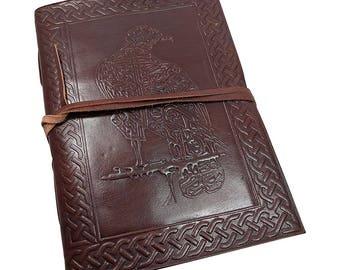 Leather bound Journal Blank Book - Embossed Raven vintage