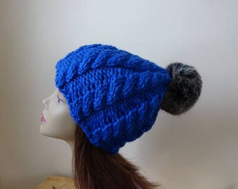 Cable Knit Hat Faux Fur Pompom Women Winter Hat Chunky Knit Hat Royal Blue Hat Black Pompom Acrylic Hat - Ready to Ship - Gift for Her