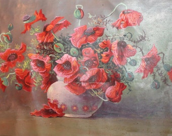 Antique still life oil painting poppy flowers