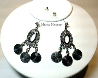 Spiral chandelier post earrings in antiqued silver and black. OOAK womens jewelry