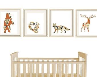 woodland nursery art, nursery decor, woodland prints, black and white nursery art, woodland decor, baby boy nursery wall art print set