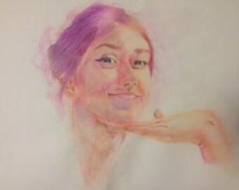 Confidence, watercolour pencil art piece