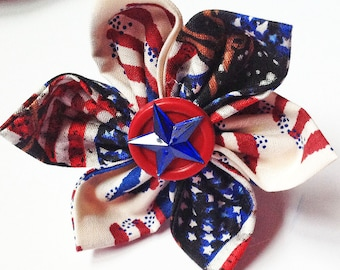 July 4th Patriotic Dog and Cat Collar Flower with Flags