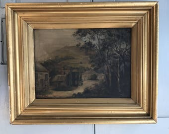 Antique oil landscape painting country scene in gilt frame