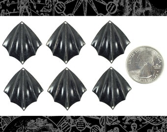 Six Blackened Brass Bat Wing Connectors  * BB-2C51