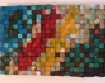 Abstract Mosaic Wall Art. One-of-a Kind Wood Sculpture.