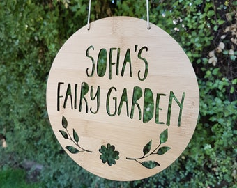 Personalised Wooden Fairy Garden Sign 19.5cm-wall hanging-wall art-wooden sign-custom name-personalised gift-kids gift-cubby house-fairy