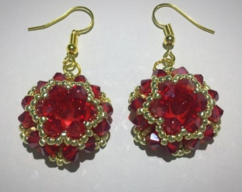 Red and gold dropper earrings