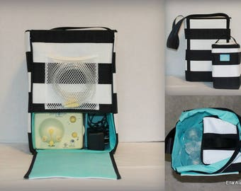 Half size Ella style Breast Pump Bag in Black Stripe print with zipper top closure