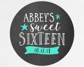 Sweet Sixteen Favor Tag, Sweet Sixteen Favor Label, Sweet Sixteen Stickers, Birthday Favor, 16th Birthday, Chalkboard, Blue, Celebrations