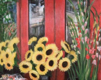 South Street Flowers, 16x20 acrylic painting