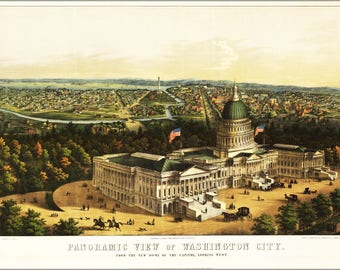 Poster, Many Sizes Available; Panoramic View Map Of Washington D.C.  Looking West  1856