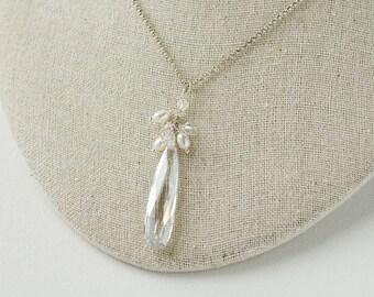 Bridal Necklace, Wedding Necklace, Cubic Zirconia Necklace, Freshwater Pearl Necklace, Bridal Jewelry
