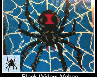 C2C Graph, Black Widow Spider Afghan C2C Crochet Graph with Written Word Chart