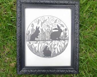 Three Bunnies - Rabbit Wall Art Print of Original Ink Drawing - Limited Edition Signed Illustration