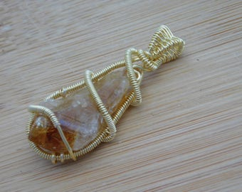 Handcrafted Rough Citrine Point Wire Wrapped in Gold Parawire Healing Pendant Handmade Wire Wrapped Jewelry Reiki Abundance Sun Power Stone