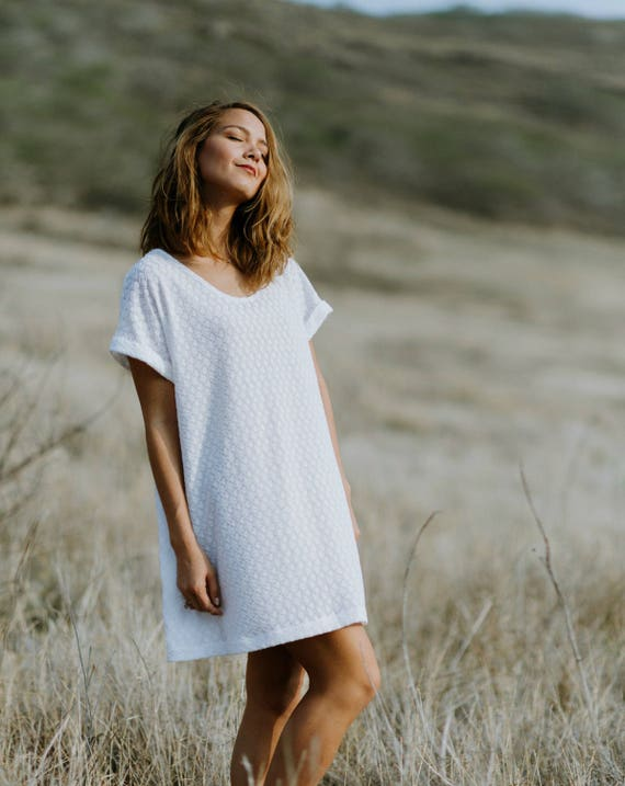 Sophie White Fishtail Textured Knit Cuff Sleeve Tee Dress