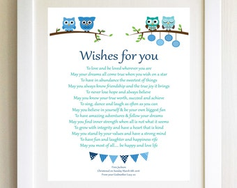 Christening Gift Naming Ceremony New Baby Gift A4 Print Wishes For You baby child Personalised Poem Children's birthday present gift
