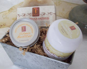 Sensitive Skincare Soap Gift Tin with Unscented Calendula Oatmeal organic soap, whipped body butter and pure shea butter tin