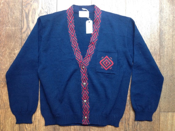 """Vintage dark navy blue womens Pendleton cardigan sweater v neck 100% wool made in USA Ivy League style mod 44"""" chest"""